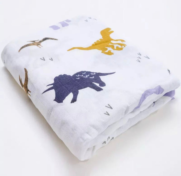Preorder Extra large 120x120cm 100% cotton muslin dinosaur swaddle blankets