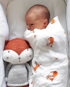 Extra large bamboo cotton muslin sleepy fox swaddle blanket