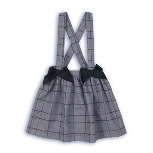 Twist double bow check skirt with cross over straps (sizes 9months to 3 years)
