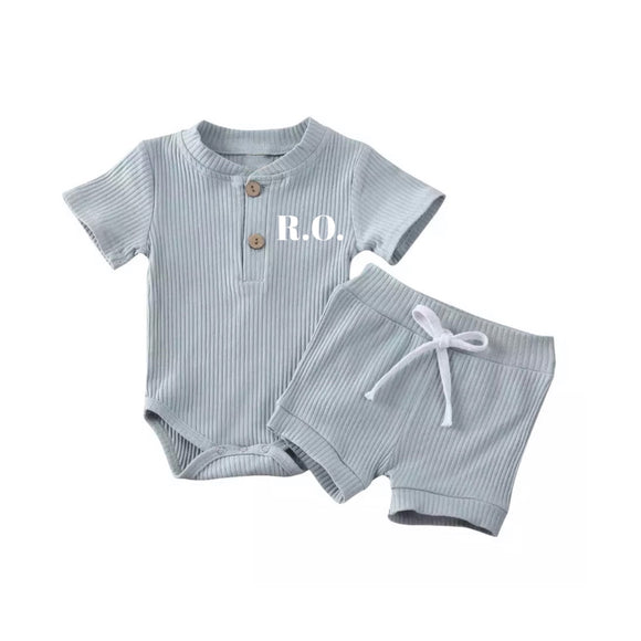 Dusky blue two piece ribbed set with personalisation (up to 2 years)