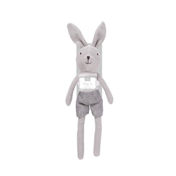 Gender neutral 40cm cuddly rabbit knitted toy - mink - gift