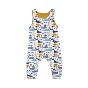 Mustard jacquard check dinosaur dungarees with poppers (0-2 years)