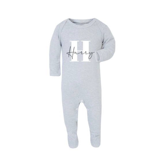 Grey Personalised sleepsuit romper (0 to 12 months)
