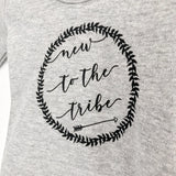 "Monochrome Tots Grey ""New to the tribe"" Scandi design long sleeve bodysuit"