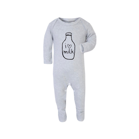 Grey I love milk sleepsuit romper (0 to 12 months)
