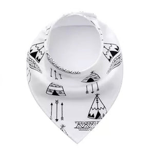 Monochrome Tots teepee and arrows fleece line dribble bib