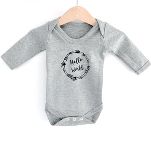"Monochrome Tots Grey ""Hello World"" Scandi design long sleeve bodysuit"