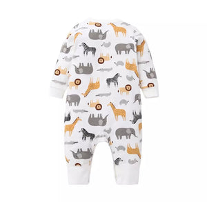 Safari print footless romper (up to 24 months)