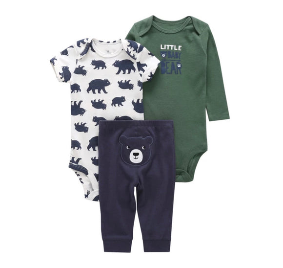 Baby bear khaki and navy 3 piece set (0-24 months)