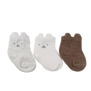 Neutral bear sock set - 3 pack (0-12 months)