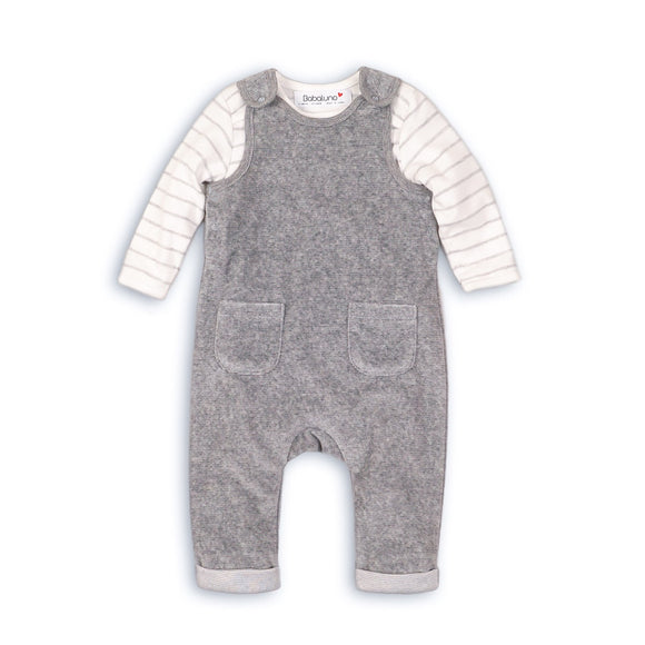 Grey super soft dungaree set with stripe bodysuit (0-12 months)