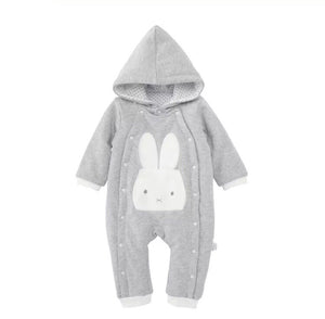 Thick padded jersey cotton lined footless rabbit winter pram suit