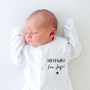 Personalised hello world white babygrow