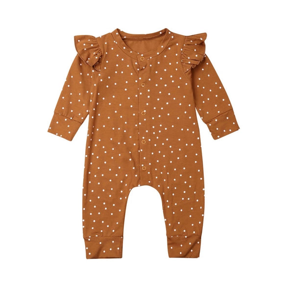 Rust polka dot spot footless romper with frill shoulders (0-12 months)