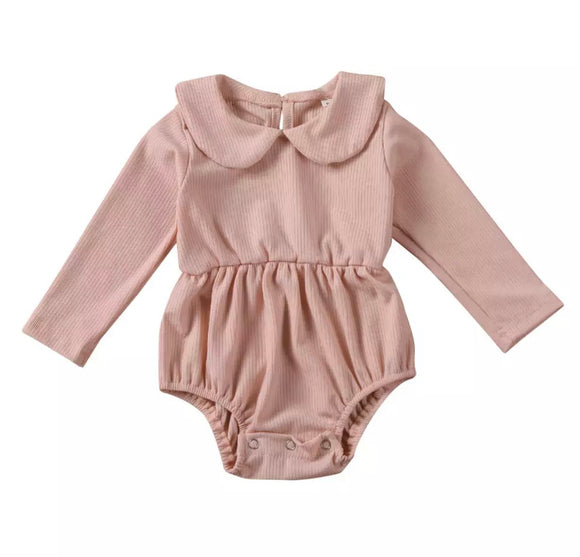 Pale dusky pink ribbed peter pan collar romper (0-24 months)