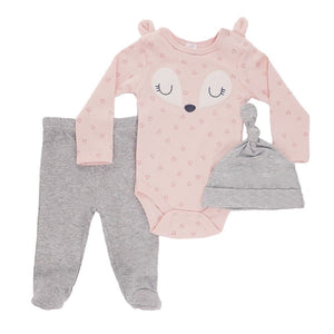 Pink Fox appliqué triangle print 3 piece set. Long sleeve bodysuit, hat and footed leggings (0 to 9 months)