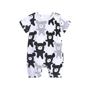 Monochrome teddy bear summer romper (0-2 years)