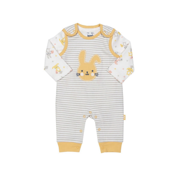 Organic cotton bunny dungaree and bodysuit set by KITE