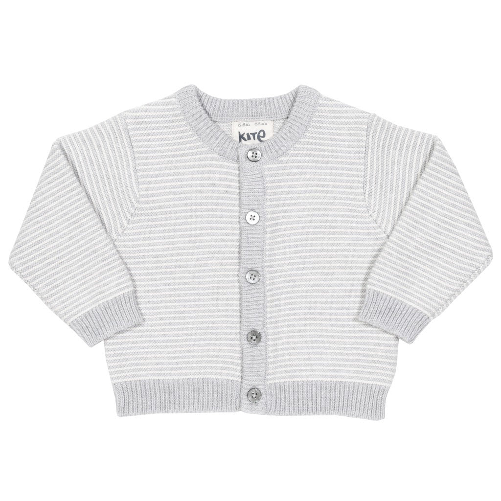 Organic cotton grey and white fine stripe cardigan by KITE
