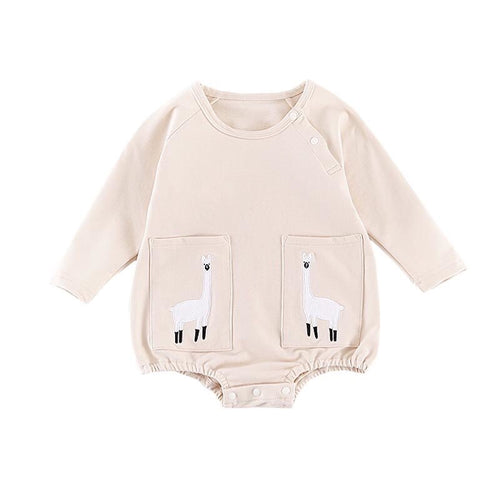 Llama pocket appliqué long sleeve bubble top (0 to 2 years)