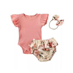 English rose ribbed bodysuit bloomer and headband set (up to 2 years)