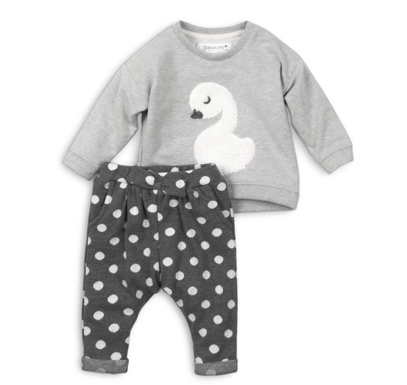 Appliqué swan sweater and dotty jersey cotton jog pant set (up to 2 years)