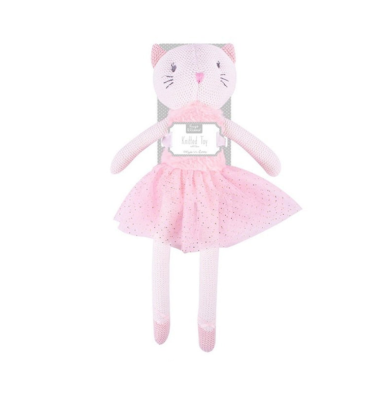 40cm cuddly ballet cat knitted toy - mink - gift
