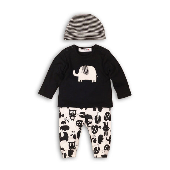 Monochrome animal and elephant stripe 3 piece hat set (Newborn to 6 months)