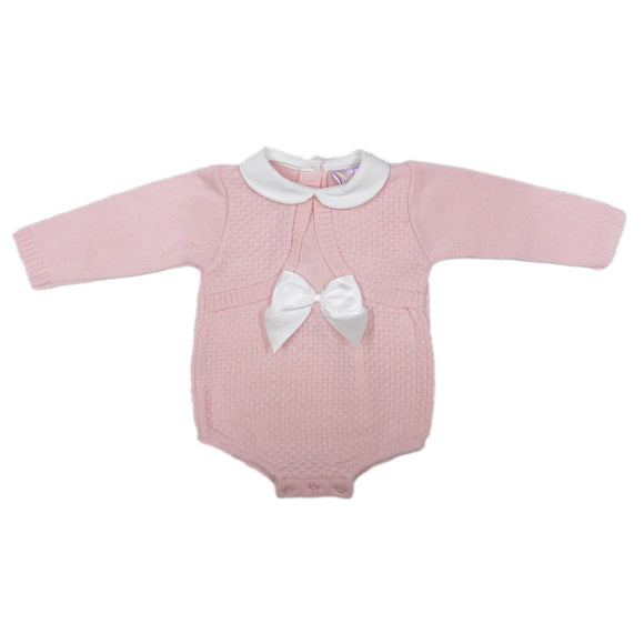 New baby - Pink knitted peter pan collared cable knitted romper (0-9 months)