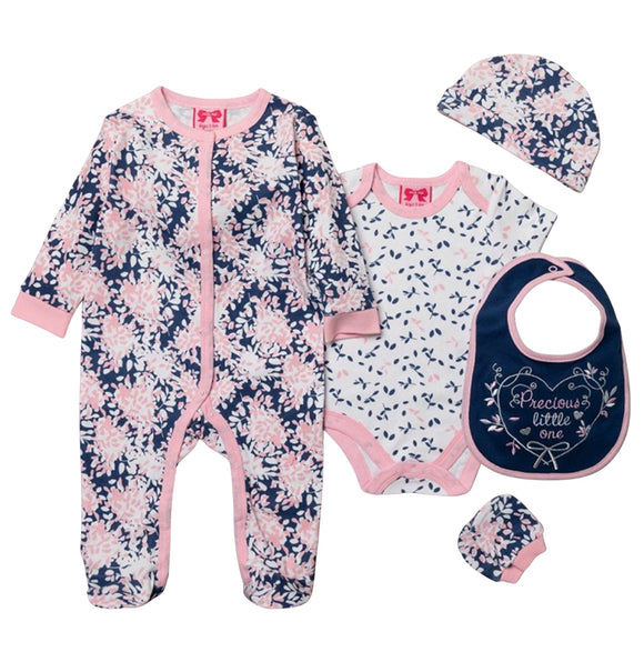 Precious Little One - sleepsuit, bodysuit, hat, bibs and mitts gift starter set (Newborn to 6 months)