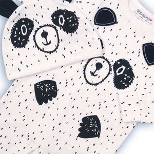 Monochrome panda sleepsuit babygrow and matching hat (Newborn to 6 months)