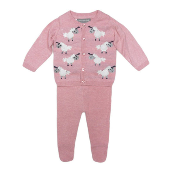 Pink sheep print two piece knitted set (0 to 9 months)