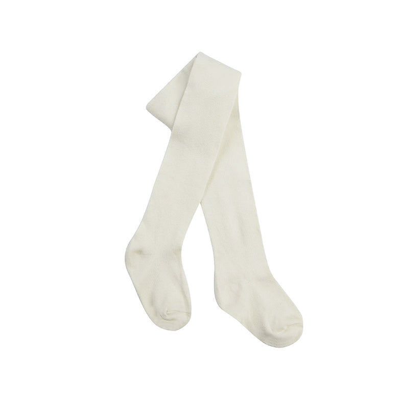 New baby - cream plain knitted tights (0-3 months)