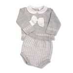 Grey knitted peter pan collared cable knitted top and bloomer set (0-9 months)