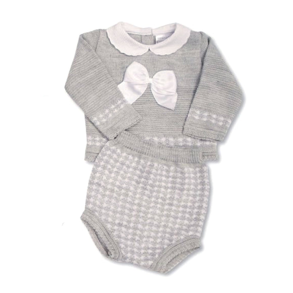 Grey knitted peter pan collared cable knitted top and bloomer set (0-6 months)
