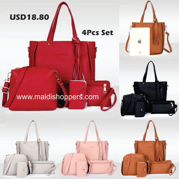 Code: B22566 - 4pcs matching women's fashion shoulder bag PU leather solid color handbag casual multi-function purse, Free Shipping Delivery 20-40 days
