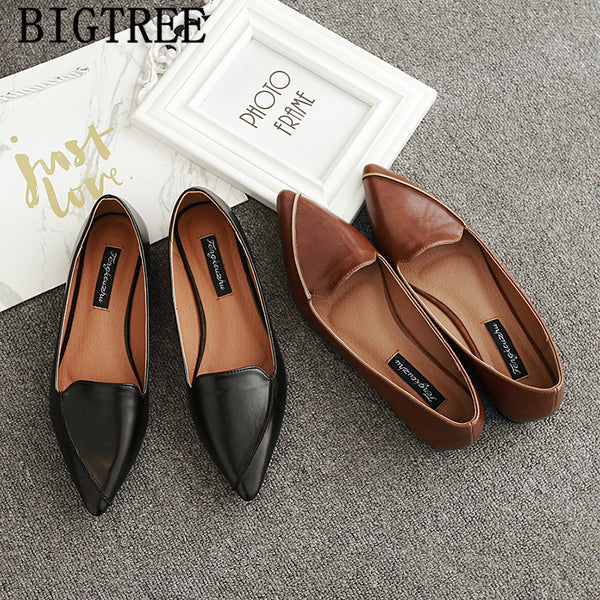 Code: S344452 leather shoes women comfort shoes loafers women pointed toe flats vintage shoes 2019 women zapatillas mujer sapato feminino buty