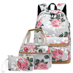 Code: S7994855 3 Pcs School Backpacks for Teen Girls School Bags Lightweight Kids Bags Children Travel Floral Canvas Backpack Bookbags Set