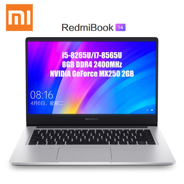 Code: L986674 Xiaomi Redmibook 14 Laptop Intel Core i5 - 8265U / i7 - 8565U 8GB DDR4 2400MHz RAM NVIDIA GeForce MX250