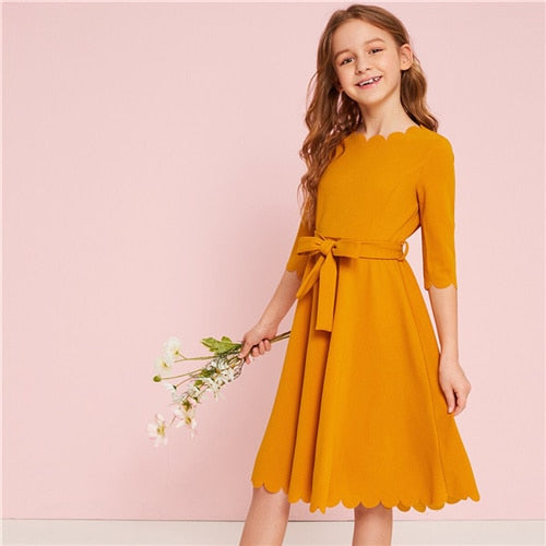 Code: G698852 SHEIN Kiddie Solid Scalloped Hem Girl Party Dress With Belt Kids 2019 Summer High Waist Cute A Line Knee Length Flared Dresses Free Shipping Delivery 15-40 days