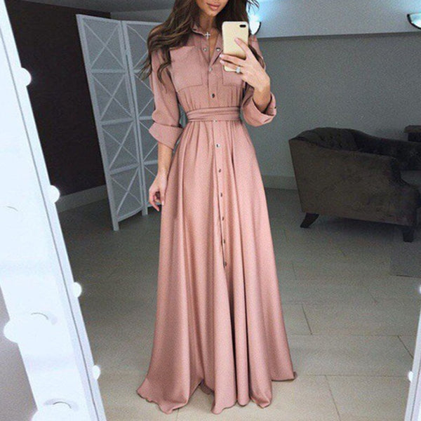 Code: L2577854 Charming Women Evening Formal Party long Dress Linen buttons decor plain color A-line dresses vestido black/red/pink/white/blue Free Shipping Delivery 15-40 days