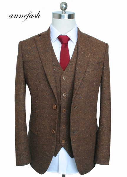 Price: MVR4281.20 Custom Made Retro melange color spot copper brown woolen tweed suit British style Mens suit slim fit Blazer wedding suit 3pcs Free Shipping - Estimated Delivery 20-40 days