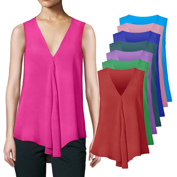 Fashion Women Chiffon Blouses Ladies Tops Sleeveless V Neck Shirt Blusas Femininas Plus Size S-6XL Female Clothing