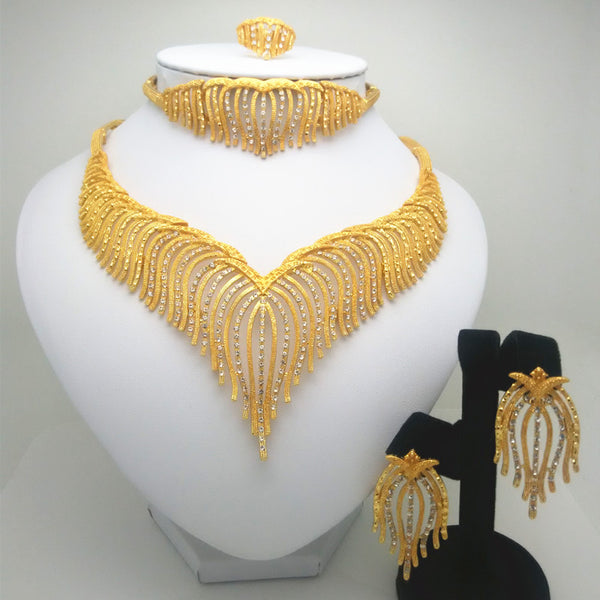 Fashion Kingdom Ma jewelry set Nigeria Dubai gold-color African bead jewelry wedding jewelry set African Bridal Wedding Gifts Free Shipping Price USD29.98