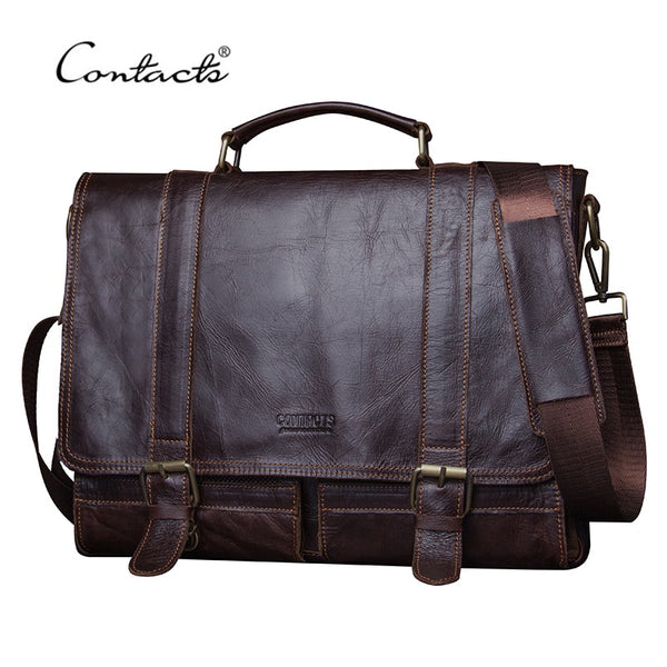 Code; H785525 CONTACT'S 2019 Men Retro Briefcase Business Shoulder Bag Leather Handbag Bag Computer Laptop Messenger Bags Men's Travel Bags