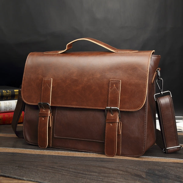 Code: B785425 - Bag men's Leather briefcase Male man laptop bag natural Leather for men Messenger bags men's briefcases