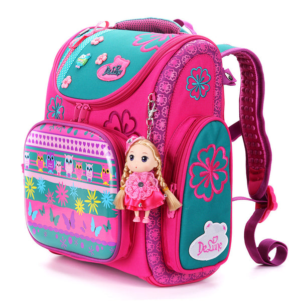 Code; S7485566 2019 Delune Brand Large Capacity Children Schoolbag Fashion Orthopedic School Bags for Girls Cartoon Dog Owl School Backpack Bag
