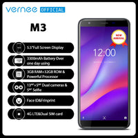 Vernee M3 5.5'' Full Screen Smartphone 3GB 32GB Quad-core Cellphone Android 8.1 3300mAh Face ID Fingerprint 4G LTE mobile phone