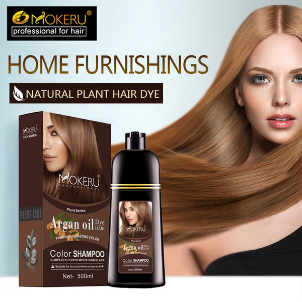 Mokeru 1pc 500ml Natural Organic Permanent Brown Hair Dye Long Lasting Argan Oil hair Dye Shampoo For Woman Hair Color Dye