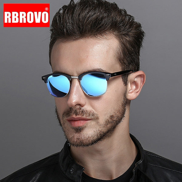 Code: S488576 RBROVO 2019 Semi-Rimless Brand Designer Sunglasses Women/Men Polarized UV400 Classic Oculos De Sol Gafas Retro Eyeglasses
